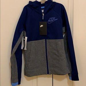 Boys Nike blue and gray full zip hoodie NWT